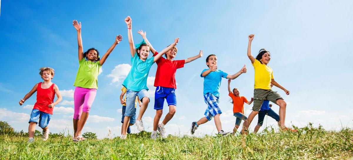 kids happy and running